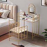 VECELO Classic Metal Set Bedroom Vanity with Glass Table Stool and Adjustable Mirror (Golden)
