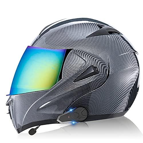 Modular Casco de Moto Integrado Bluetooth,Cascos Integrale de Moto Modulares Con FM para Hombres y Mujeres Adultos,con Doble Visera para Montar Al Aire Libre Apto Casco DOT/ECE H,L=59-60CM