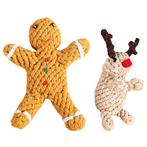 ZOOMY Christmas 2 Pack Gingerbread Man and Moose Shape Durable Knot Rope Chew - Beige + Yellow