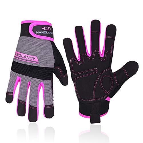HANDLANDY Guantes de trabajo para mujer, flexibles y transpirables, guantes de trabajo mecánicos delgados, pantalla táctil (pequeña)