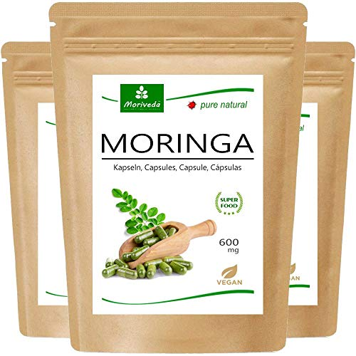 MoriVeda® - 360 Moringa Energia compresse 950mg o Moringa capsules 600mg - Oleifera, vegan, Prodotto di qualità (3x120 Capsule)