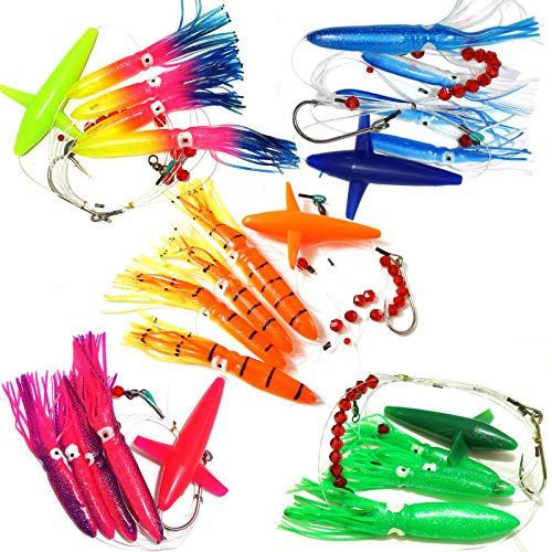 Fish Wow! Fishing Daisy Bird Chain Squid Lure Rig Teaser Trolling - Set of 5