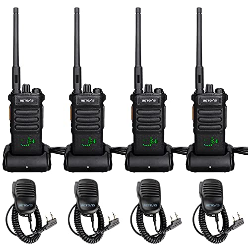 Retevis RT86 Two Way Radios Long Range Rechargeable,High Power Heavy Duty 2600mAh 2 Way Radios,Remote Alarm Walkie Talkies Adults with Shoulder Mic(4 Pack)