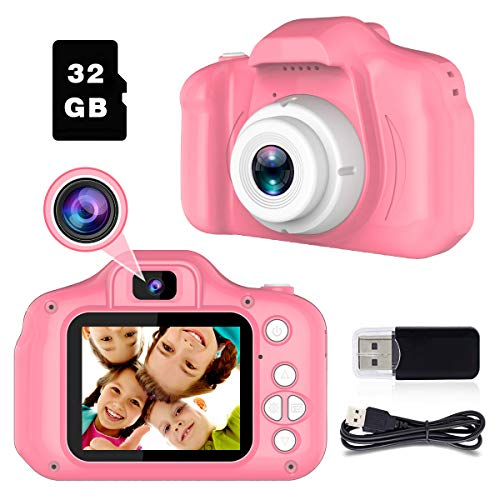 BAISIQI Regali per 3-8 Anni Ragazze Fotocamera per Bambina Giocattolo Macchina Fotografica Digitale 12MP Videocamera Bambini Giochi Bambina 3 4 5 6 Anni Femmina Regali di Compleanno Rosa