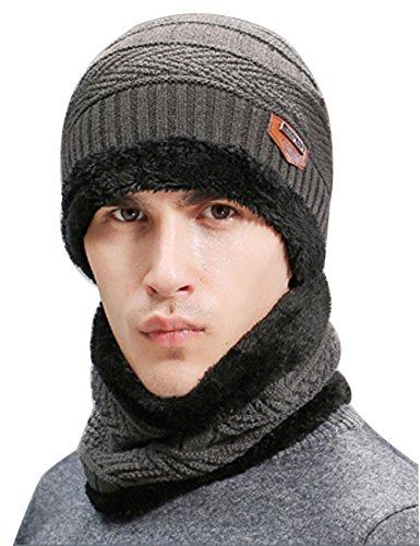 Closoul Direct Cappello Cappellini Uomo Invernali Berretto Uomo in Maglia con Sciarpa Rosso