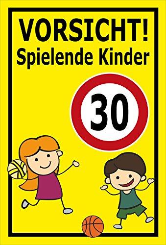 Melis Folienwerkstatt Schild - Spielende Kinder - 45x30cm | Bohrlöcher | 3mm Hartschaum - S00040-014-C - 20 Varianten