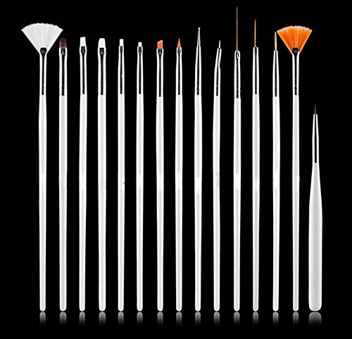 AIUIN Un ensemble de 15 Brosse à ongles Professionnel Outil Ongle Art Design Peinture Detailing Brosses Stylo Nail art (Blanc)