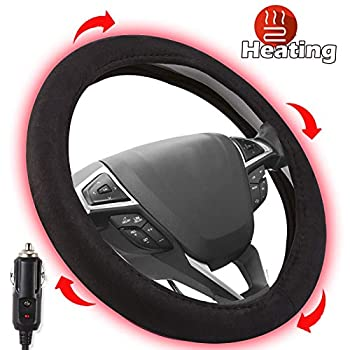 """Small Ant Heated Steering Wheel Cover,2020 Upgraded 12V Heated Auto Steering Wheel Cover,Comfy Car Steering Cover Hand Warmer Winter,15""""Black"""