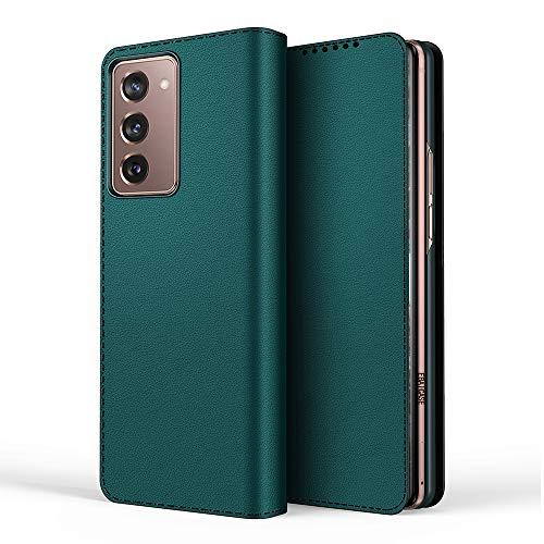 Miimall Samsung Galaxy Z Fold 2 5G Hülle, [Abnehmbare Hintere Abdeckung] Premium Leder Klapphülle mit Kartensteckplätze Magnetschnalle Schutzhülle für Samsung Galaxy Z Fold 2 5G 2020 - Grau