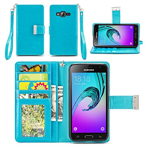 IZENGATE Wallet Case Designed for Samsung Galaxy J3, Galaxy Amp Prime, Galaxy Express Prime, Galaxy Sky/Sol / J3 V - PU Leather Flip Cover Folio with Stand (Turquoise Blue)