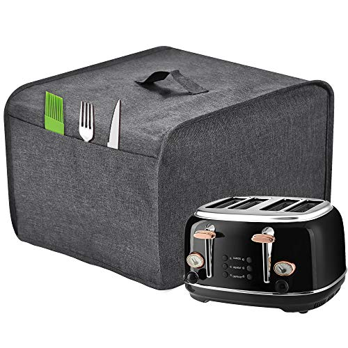 Toaster Cover with 2 Pockets,Can hold Jam Spreader Knife & Toaster Tongs, Toaster Appliance Cover with Top handle,Dust and Fingerprint Protection, Machine Washable (Grey, 4 Slice)