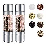 Rmine - Molinillo de sal manual 2 en 1, tamaño de grano ajustable de acero cepillado con cerámica integrada (plata, 2 unidades)