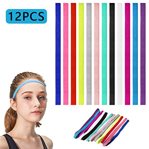tompig 12 Stück Sport Haarband für Damen, Sport Stirnbänder Schlanke Elastische Stirnbänder Anti Rutsch Stirnband für Laufen Fußball Fitness Tennis Joga