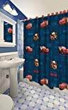 Disney All New Fabric Shower Curtain Set with 12 Matching Hooks (Cars)