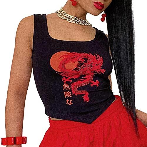 Top Corto con Tirantes Finos y Estampado de dragón Y2K para Mujer Camiseta sin Mangas del Chaleco de Cami, Chaleco Party Club