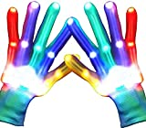 Charlemain LED Handschuhe Kinder,6 Modus, blinkende Handschuhe Spielzeug für Weihnachten, Halloween, Konzert, Geschenke, kleine LED Handschuhe für Kinder, Mädchen, Junge, Geschenk(5-10 Jahre) -