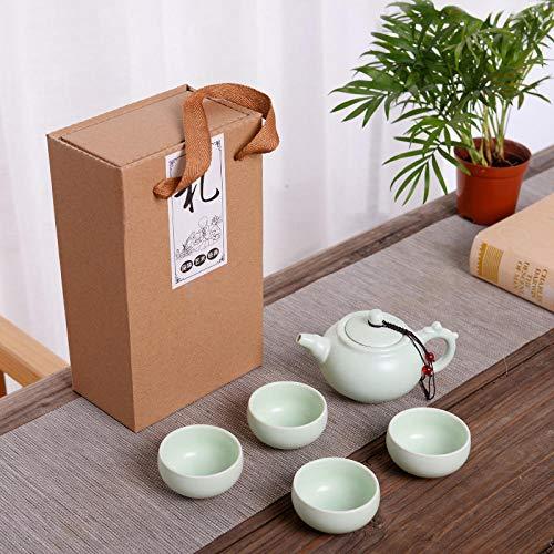 Ksnrang Set da tè in Ceramica Smaltata Opaca DING Set da tè Regali promozionali per Le Vacanze Set da tè Logo Personalizzato venderà Piccoli Regali-Una pentola e Quattro Tazze - pentola Lunga - Verde