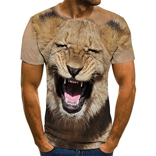 JKFDH 3D T-Shirt,Kreative Round Neck Short Sleeve Tops Neuheit Lustiges Tier Brüllender Löwendruck Braun Lässige Atmungsaktive Streetwear Für Frauen Mann Indoor Outdoor Sport, 4XL