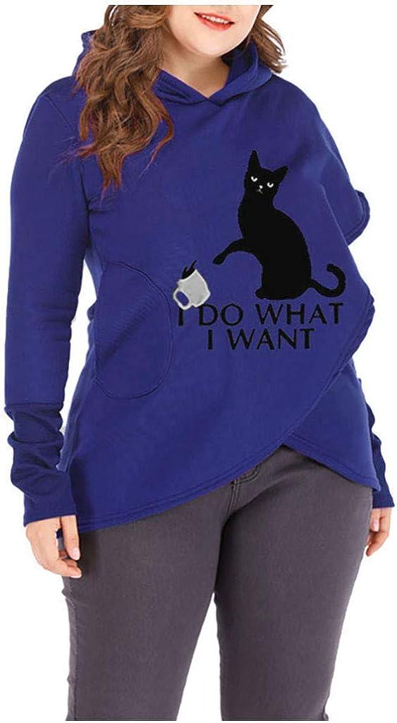NREALY Tops Womens Cat Print Hoodies Sweatshirts Casual Long Sleeve Pocket Pullover Top