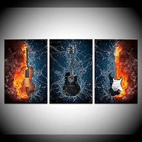 Jgophu 3 Stück abstrakte flammende Gitarrenmusik Band Moderne Wandmalerei Home Flur Dekor Kunst HD gedruckte Leinwand Cooler Bilderrahmen-60cm x90cm 3St