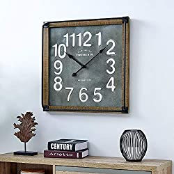 FirsTime & Co. Liam Industrial Square Wall Clock, 24H x 24W, Metallic Gray, White, Black, Antique Brown