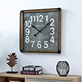 FirsTime & Co. Liam Industrial Square Wall Clock, 24'H x 24'W, Metallic Gray, White, Black, Antique Brown