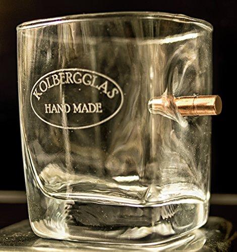 """Kolberg Whisky Glas mit Patrone Projektil Geschoß Kugel Wunsch Gravur Option. Kein Geschenk von der """"Stange"""""""