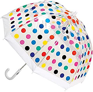 CLIFTON UMBRELLAS Multi Spots Design Kid Friendly PVC Birdcage Umbrella, Rainbow, One Size