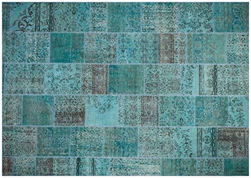 Alfombra turca de lana hecha a mano de patchwork turquesa Ölçü; 240x340
