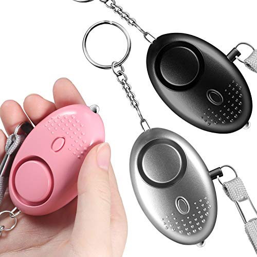 Seguridad Personal,Alarma de Bolsillo de 140 Decibeles,Mini llavero de Alarma Con linterna Mini led Seguridad Antirrobo,Pánico/Emergencia/Seguridad/Ataque/Protección/Niños y Mujeres(3 piezas)
