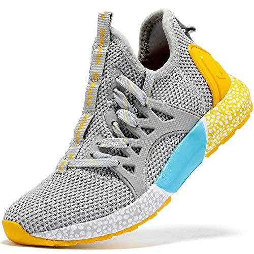 Elaphurus Kinder Sneaker Jungen Sportschuhe Mädchen Hallenschuhe Outdoor Laufschuhe Tennisschuhe für Unisex-Kinder Hellgrau Gelb, 34 EU