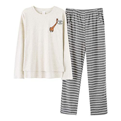 DFDLNL Conjunto de Pijama de Jirafa Animal para Dormir, Jersey de Manga Larga de otoño, Ropa de Dormir de Pareja de algodón a Juego para Mujeres y Hombres L L99013