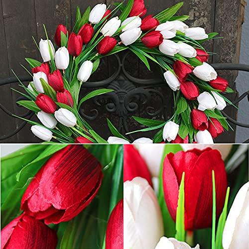 ZHIPANG Corona de tulipán artificial, corona de flores de seda de 15.7 pulgadas, corona de primavera hecha a mano para puerta delantera, ventana, fiestas, festivales, decoración del hogar