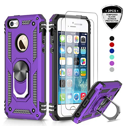 LeYi iPhone se Case, iPhone 5s Case, iPhone 5 Case, Military Grade Armor Full-Body Hybrid Dual Layer Protective Phone Cover Case with 360 Degree Rotating Holder Kickstand for iPhone 5/5s/se, Purple