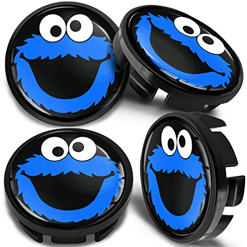 SkinoEu 4 x 65mm Tapas de Rueda de Centro Centrales Llantas Aluminio Tapacubos Compatibles con VW/Skoda 3B7601171 / 6U7601171 Negro Azul Elmo Cookie Monster CV 41