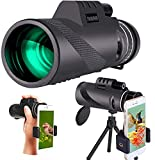 40x60 Monocular Telescope, High Definition Monocular Low Light Night Vision Waterproof Telescope with Smartphone Holder & Tripod and Compas for Bird Watching, Hiking, Camping, Concerts