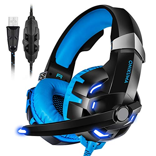 PC Gaming Headset USB, 7.1 Surround Sound USB Gaming Headphons Crystal Clear Sound with Noise Isolating Mic Deep Bass Volume Control LED Light for PC Mac Computer Gamers Laptop (Blue)