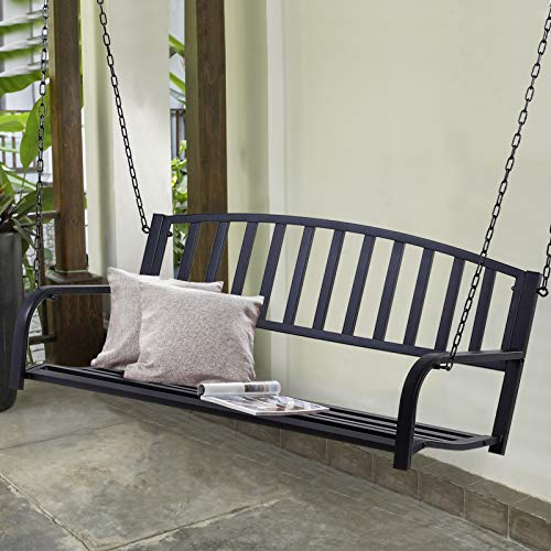 Outsunny 2 Person Front Hanging Porch Swing Bench, Outdoor Steel Swing Chair with Sturdy Chains, for Backyard, Deck, 550 lb Weight Capacity, Black