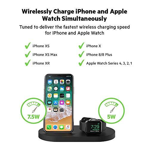 国内正規品belkinBoostupワイヤレス充電ドック(Qi認証/iPhone+AppleWatch用、USB-A端子付属)(F8J235dqBLK,ブラック)