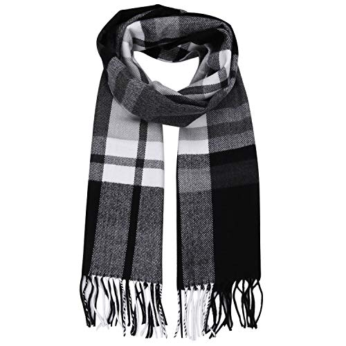SOJOS Plaid Tartan Cashmere Scarves with Tassels for Men and Women SC3010 with Blue&Grey&Black Stripes