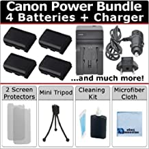 4 LP-E6 / LP-E6N Batteries + AC/DC Turbo Charger w/Travel Adapter + Complete Deluxe Starter Kit for Canon EOS 5DS R, EOS 5DS, EOS 5D Mark III 6D 7D 60D 70D by eCost