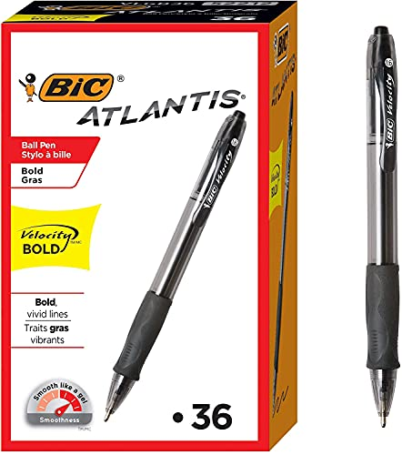 Velocity Bold Retractable Ball Pen, Bold Point (1.6mm), Black, 36-Count, Great for Everyday Writing, 1 Set