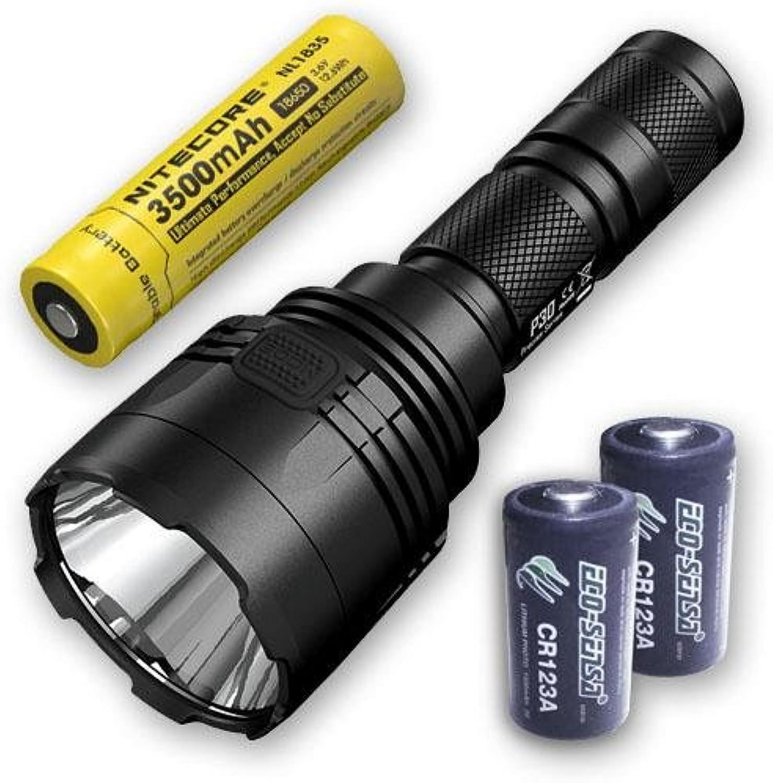 Bundle  Nitecore P30 1000Lm LED Flashlight + 1x Nitecore 1835 & 2x FREE Eco-Sensa CR123A Batteries