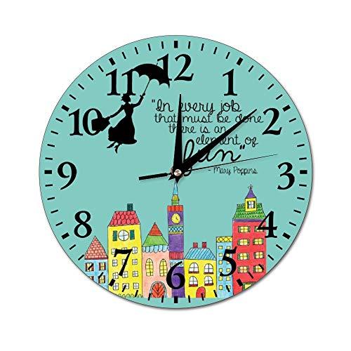 Mesllings Mary Poppins - Reloj de pared de cristal redondo para cocina, oficina, reloj colgante retro, accesorios de decoración del hogar