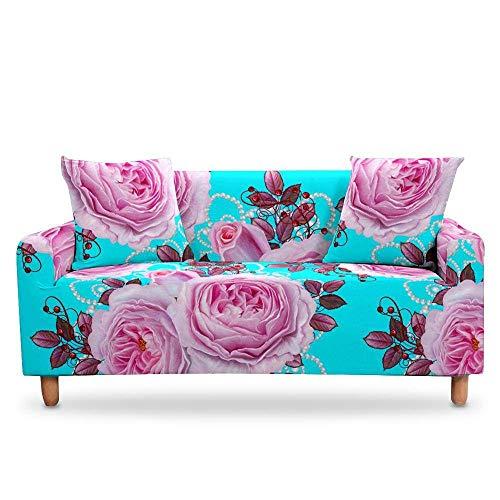 Qier Sofabezug Stretch Slipcover Möbelschutz, Sessel Sofa Home Decoration, Elastic Chaise Corner Cover, Blume, Orange, 3-Sitzer 75,90 Zoll