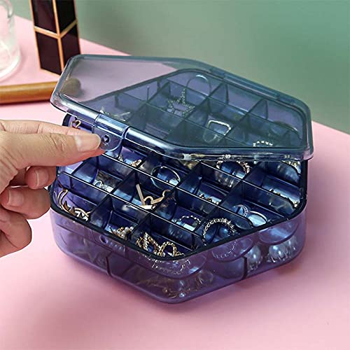 LANL Caja de joyería doble transparente organizador de plástico caja de almacenamiento contenedor de exhibición