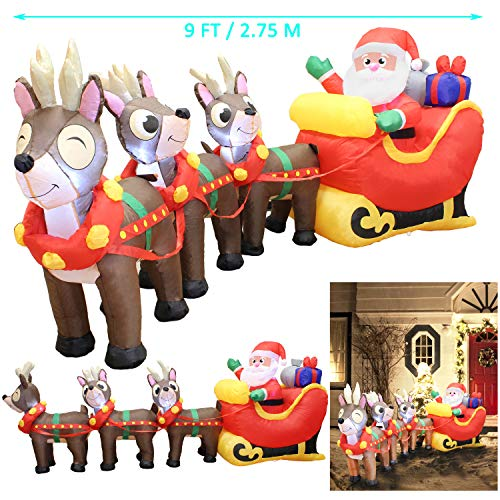 Joiedomi 9.5 Foot Inflatable Santa Claus on Sleigh with Three Reindeer LED Light Up Christmas Xmas for Blow Up Yard, Indoor Outdoor Garden Christmas Decoration