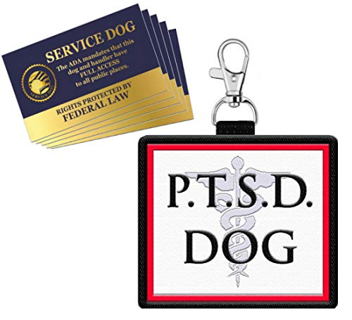 """WORKINGSERVICEDOG.COM """"PTSD Dog - Clip On Identification Patch Tag - Includes Five Service Dog Handout Cards - Clips onto a Service Dog Vest, Harness, Collar, Leash or Carrier"""