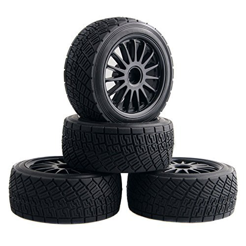 Shaluoman WR8 Tarmac Wheel with Tires for HPI Rally Off-Road WR8 Tyres Pack of 4 Black