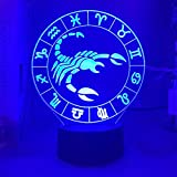KangYD Luz de noche 3D Scorpio, lámpara de ilusión óptica LED, decoración de oficina, E - Base para despertador (7 colores), Lámpara Novedad, Regalo de la suerte